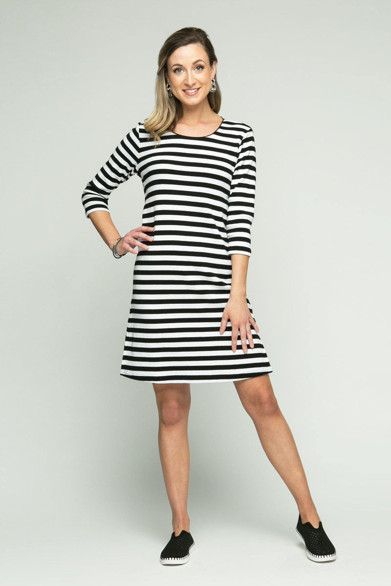 "37"" ¾ Sleeve Scoop Neck Stripe Dress"