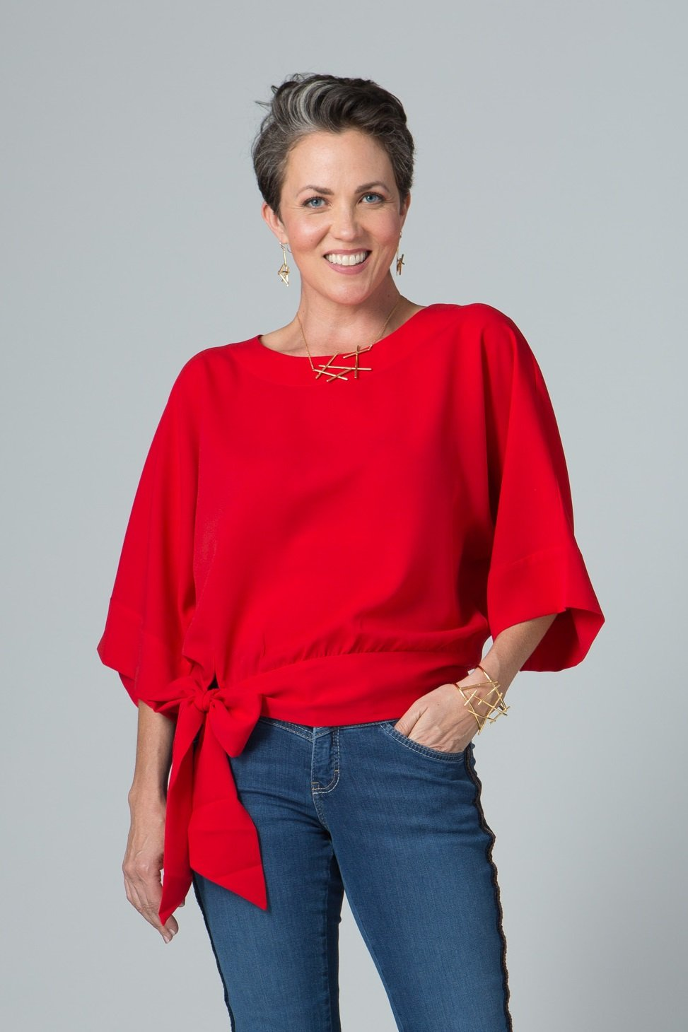 Wide Sleeve Belted Top - Lilli Sucré - Tops - Blouses