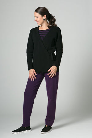 "26"" Long Sleeve Wrap Sweater with Tie"