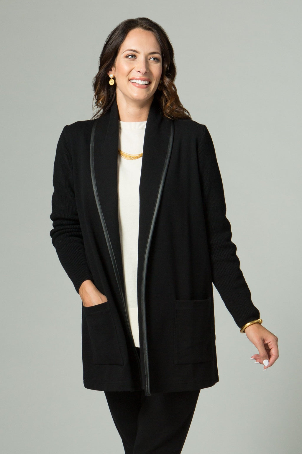 "30"" Long Sleeve Shawl Collar Jacket with Faux Leather Trim - New Orleans Knitwear - Outerwear - Jackets"