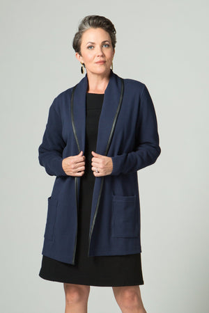 "30"" Long Sleeve Shawl Collar Jacket with Faux Leather Trim"