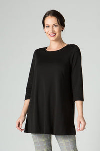 ¾ Sleeve Round Neck Tunic - New Orleans Knitwear - Tops - Blouses