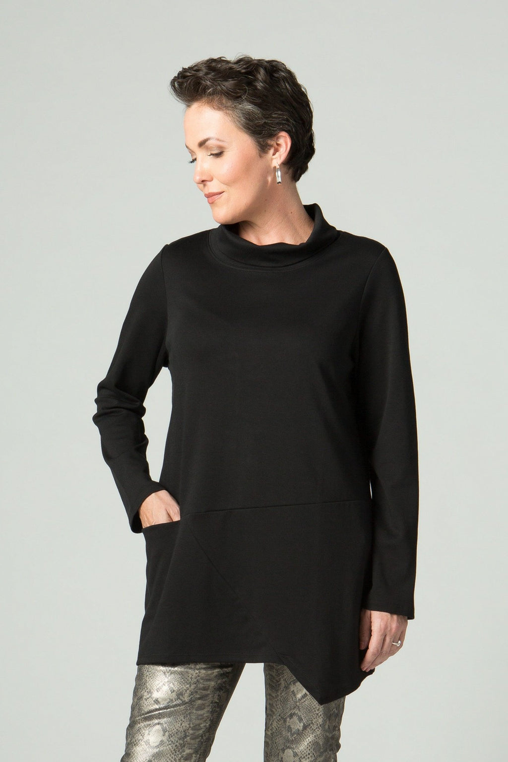 Long Sleeve Turtle Neck Tunic with Front Pocket - New Orleans Knitwear