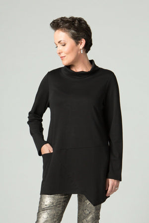 Long Sleeve Turtle Neck Tunic with Front Pocket