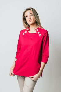 "27"" Open Mandarin Collar Tunic with Button Detail - Amélline - Tops - Blouses"