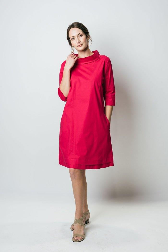 "38"" ¾ Sleeve High Collared Dress with Back Zip - Amélline - Dresses - Casual"