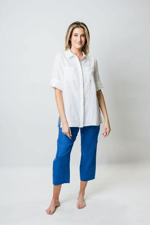 "28"" Tunic Blouse with Rolled Sleeves - Amélline - Tops - Blouses"