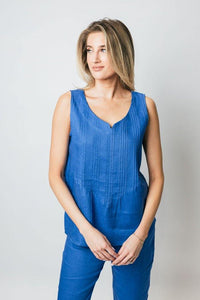 "25"" Linen Tank with Pleated Front - Amélline - Tops - Tanks"