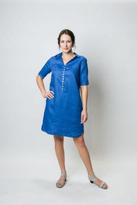 "38"" Linen Shirt Dress with Elbow Sleeves - Amélline - Dresses - Casual"