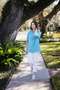 ¾ Sleeve Zip Cardigan with Pockets - New Orleans Knitwear - Tops - Sweaters
