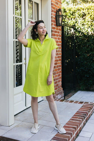 "38"" Short Sleeved Poplin Dress - Amélline - Dresses - Casual"