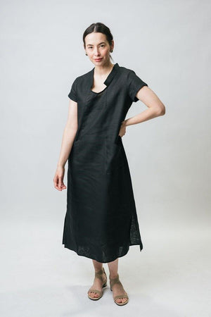 "47"" Open Mandarin Collared Dress with Short Sleeves - Amélline - Dresses - Casual"