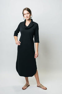 "48"" 3⁄4 Sleeve Cowl Neck Dress with Pockets - New Orleans Knitwear - Dresses - Casual"