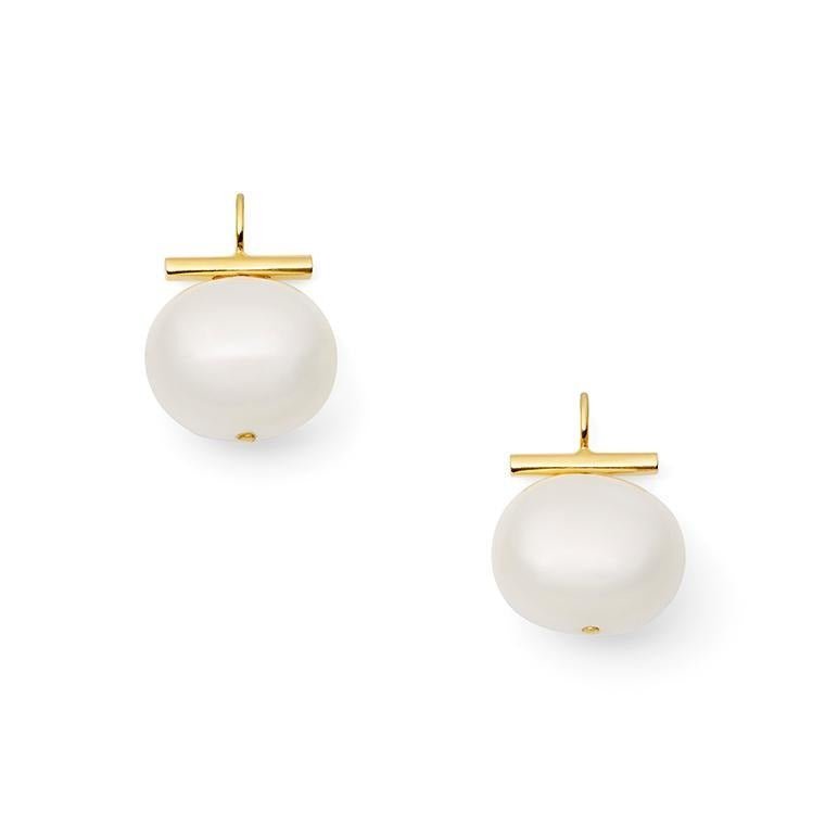 Classic Large Pebble Pearl Earrings - Catherine Canino - Earring