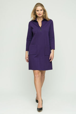 "36"" ¾ Sleeve Zip Collar Dress"