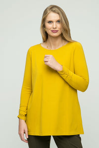 "26"" Scoop Neck Tunic with Ruched Sleeve Detail - Endywear - Tops - Blouses"