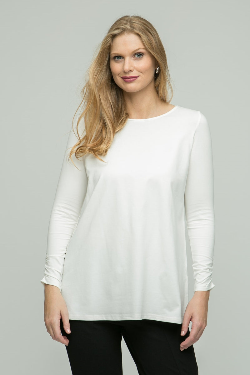 "26"" Scoop Neck Tunic with Ruched Sleeve Detail"
