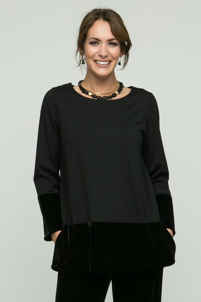 "26"" Round Collar Tunic with Velvet Details"