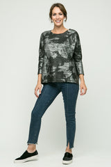 "24/26"" Hi-Low Animal Print Sweater"