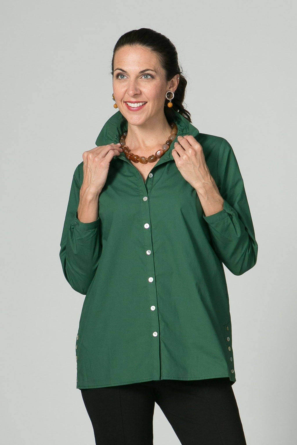 "28"" Blouse with Ruched Collar and Button Details - Amélline - Tops - Blouses"
