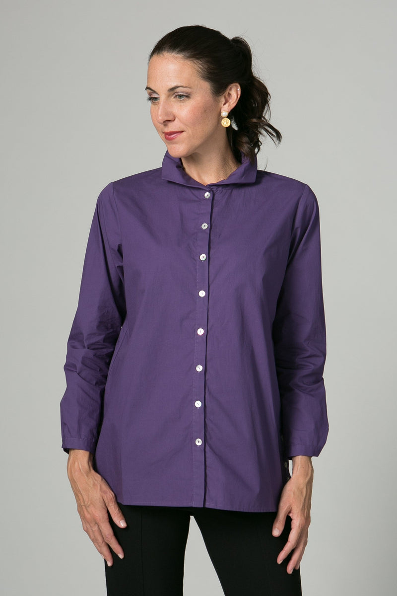 "28"" Blouse with Ruched Collar and Button Details"