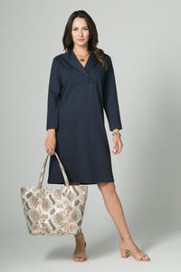 "39"" Long Sleeve Wing Collar Dress with Pockets - Amélline - Dresses - Casual"