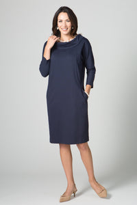 "39"" Portrait Collar Seam Dress - Amélline - Dresses - Casual"