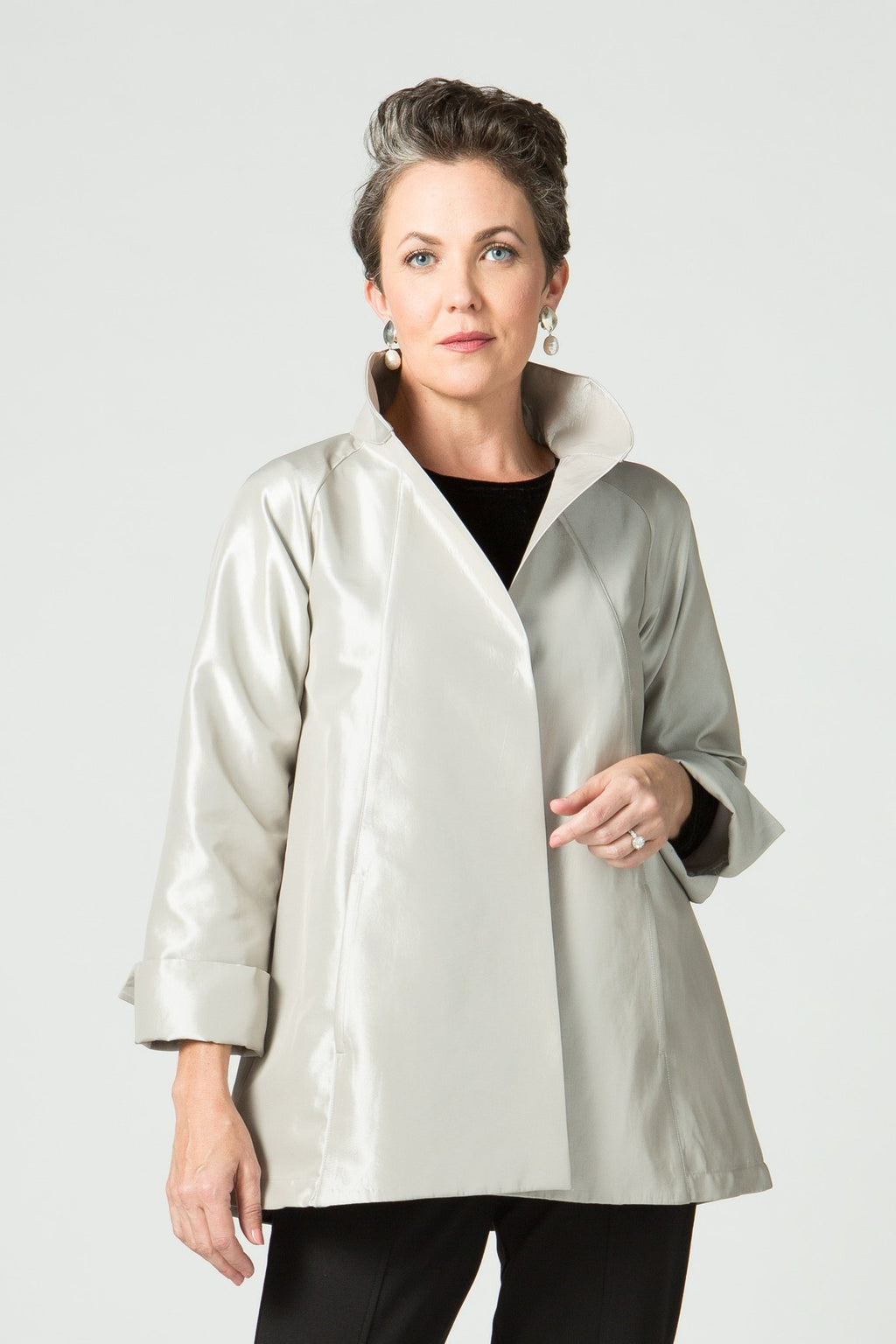 Dressy Metallic Swing Jacket