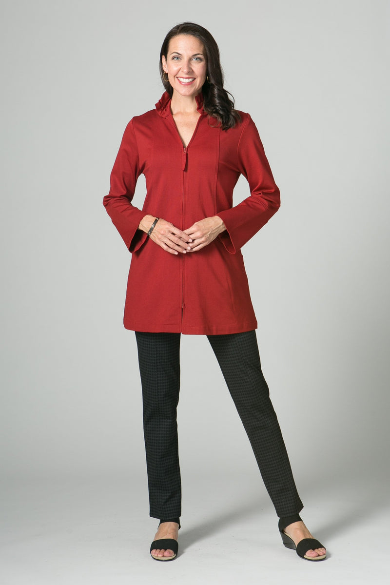 "31"" Zip Jacket with Ruched Collar and Pockets"