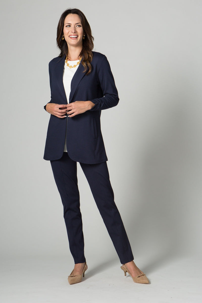 "30"" Cardigan/Blazer with Ruched Sleeves, Hook & Eye Closure - Amélline - Outerwear - Jackets"