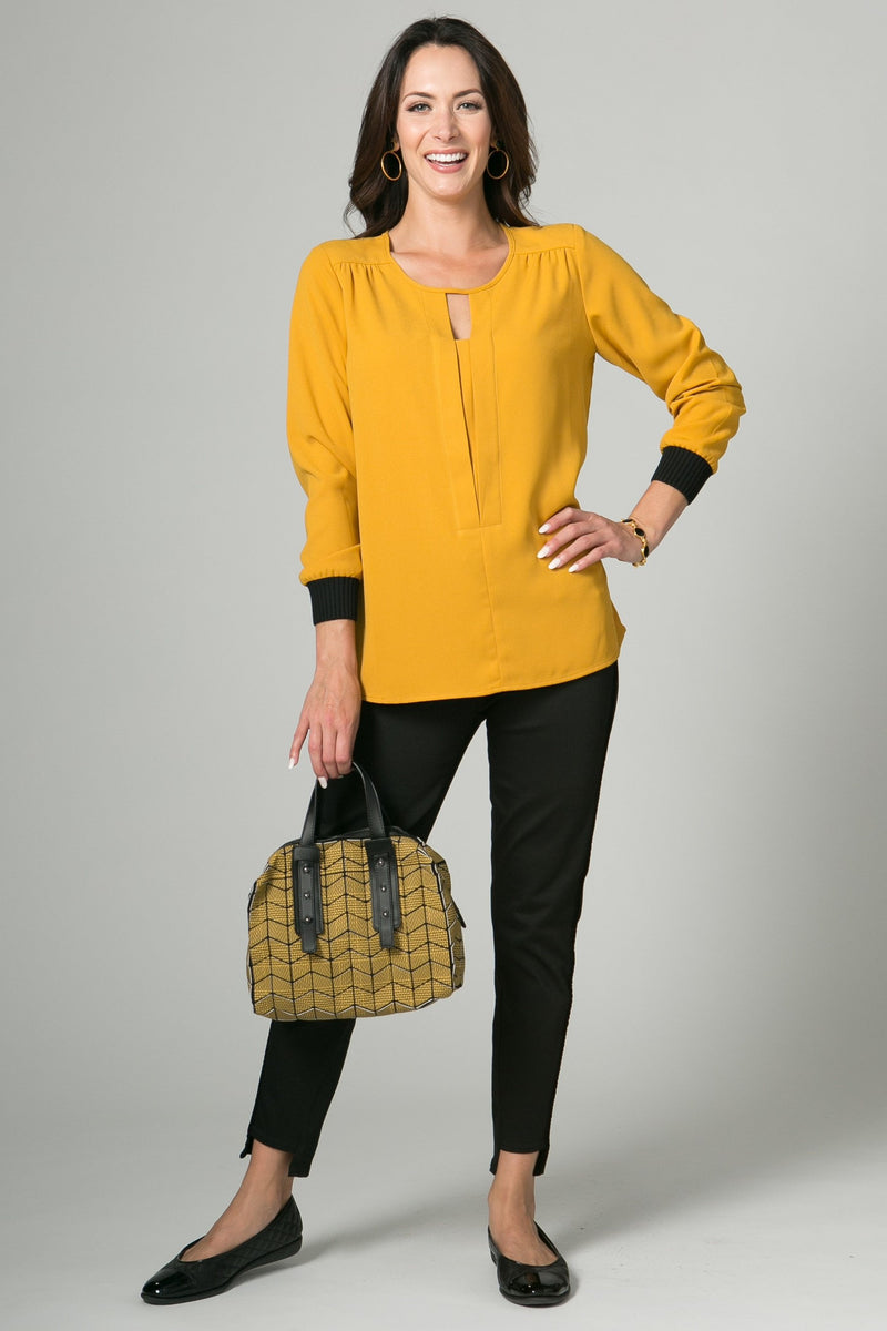 "26"" V Neck Tunic with Ribbed Cuffs"