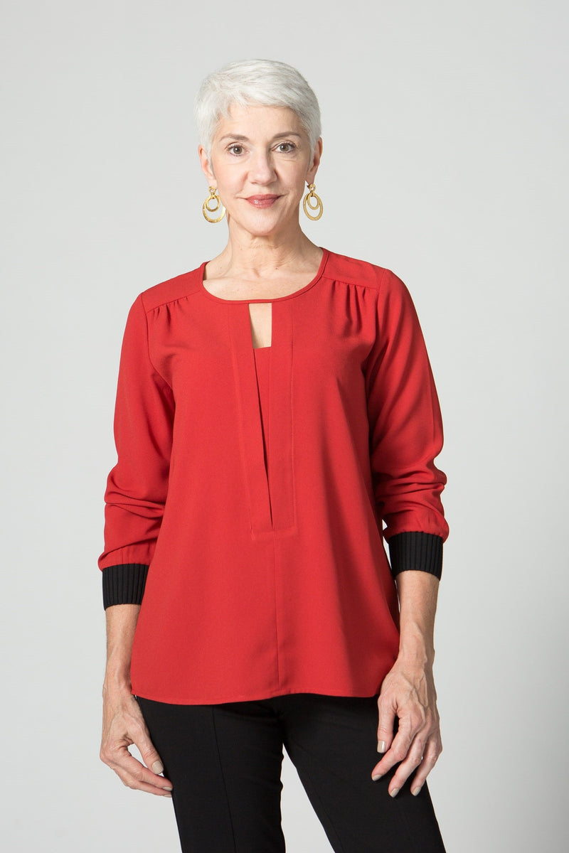 "26"" V Neck Tunic with Ribbed Cuffs - Lilli Sucré - Tops - Blouses"