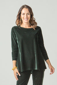 Hi-Low Velvet Tunic with Ruched Sleeve Detail