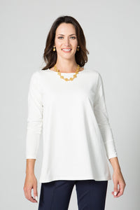 "27"" Scoop Neck Tunic with Ruched Sleeves - Endywear - Tops - Blouses"