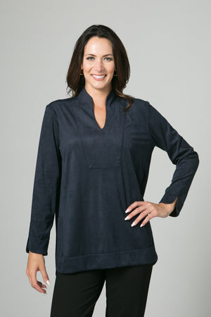 "29"" Stretch Suede Seam Detail Tunic - Lilli Sucré - Tops - Blouses"