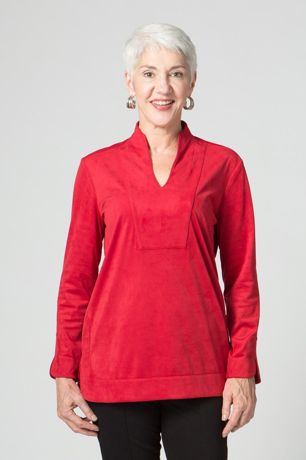 "29"" Stretch Suede Seam Detail Tunic"