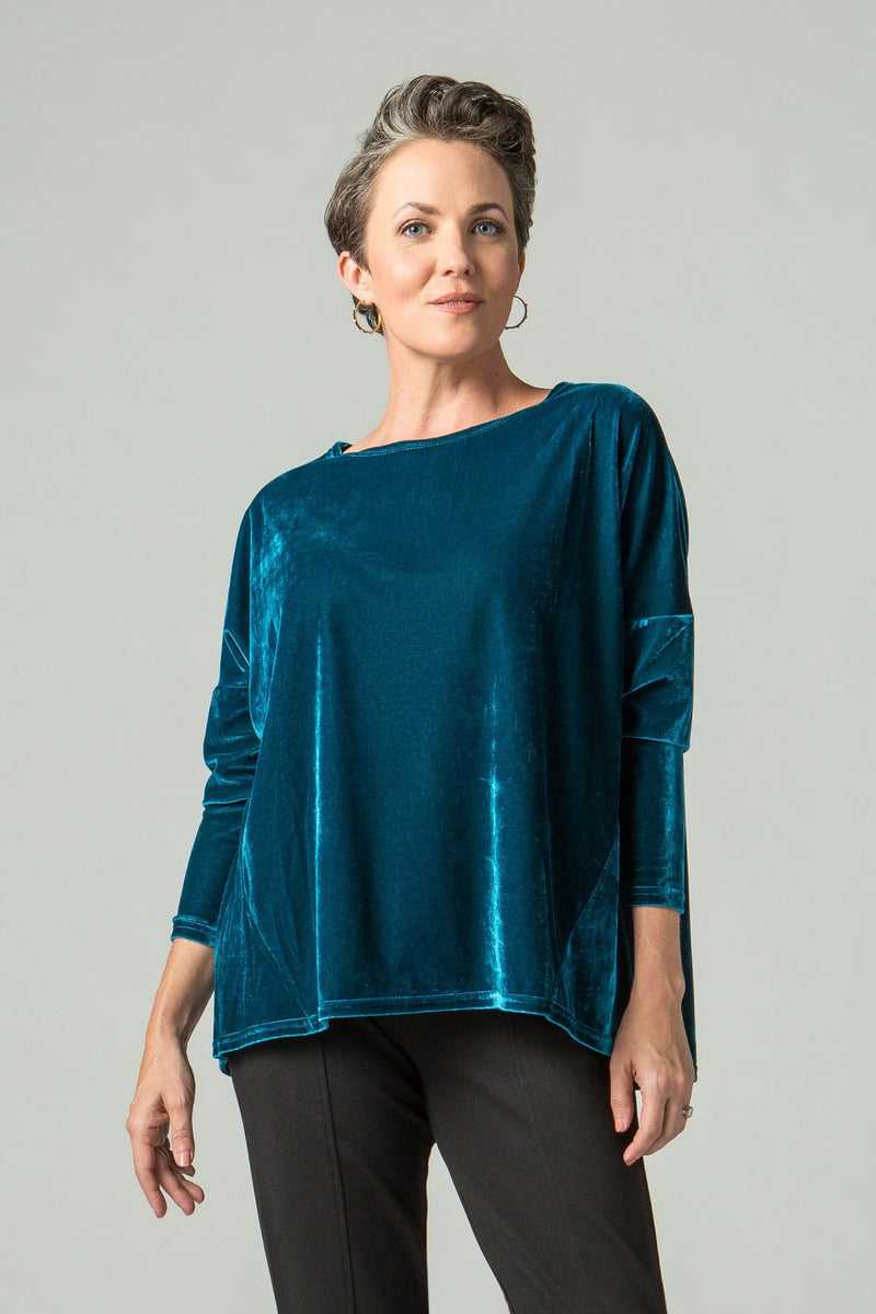 Velvet T with Drop Shoulder and Seam Details