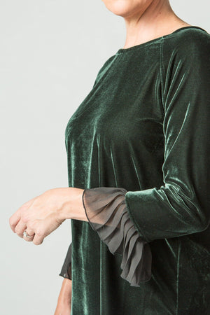 Velvet Top with Voile Pleated Cuffs