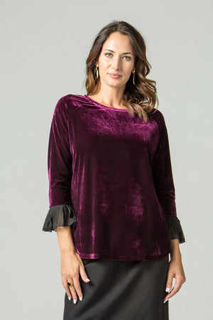Velvet Top with Voile Pleated Cuffs - New Orleans Wovens