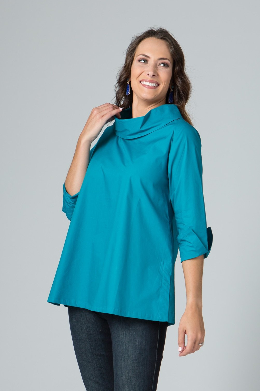 Back Split Cowl Neck Tunic with Back Buttons Details