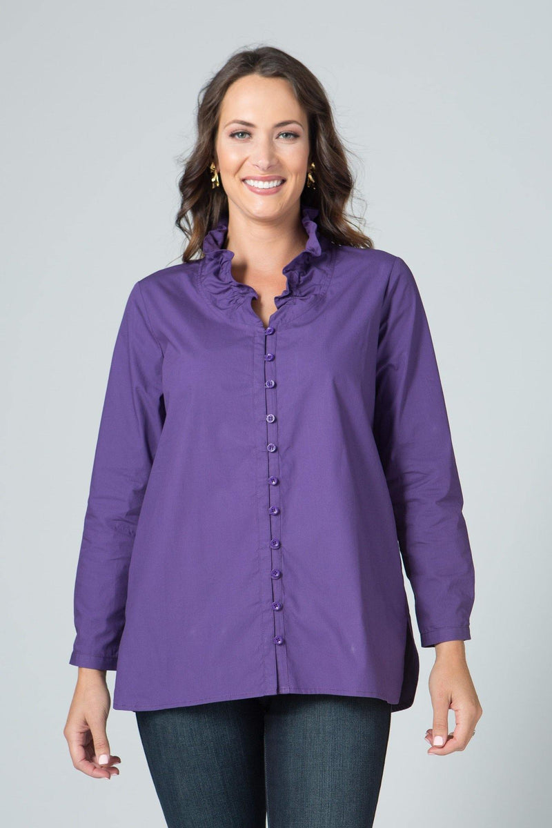 Blouse with Adjustable Rushing Collar - Amélline - Tops - Blouses