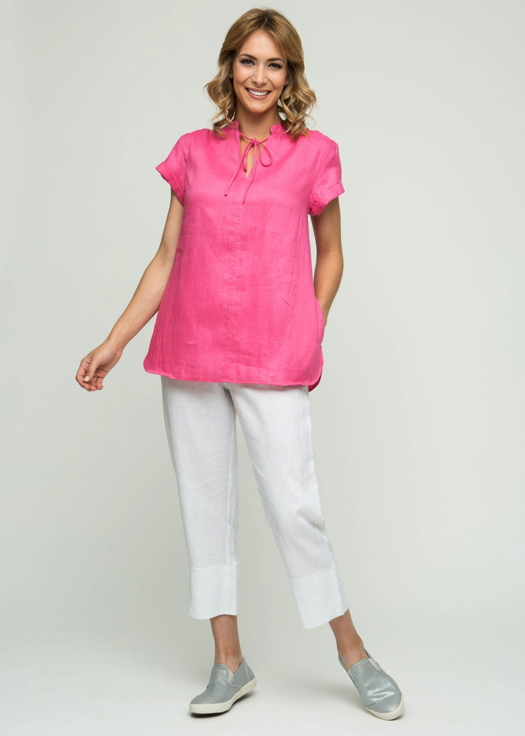 "29"" Short Sleeve Tunic with Tie Collar"