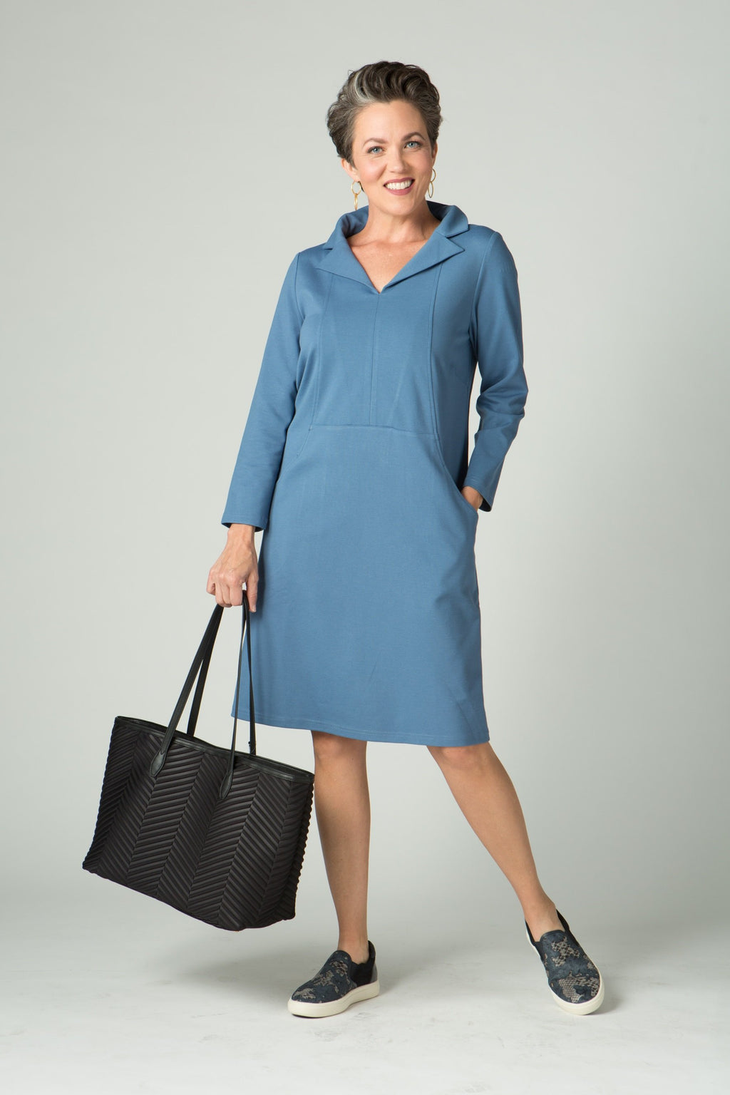 "39"" Long Sleeve Portrait Collar Dress with Pockets"