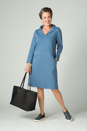 "39"" Long Sleeve Portrait Collar Dress with Pockets - Amélline - Dresses - Casual"
