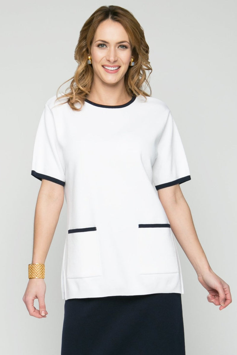 "27"" Short Sleeve Tipped Two Pocket Tunic"
