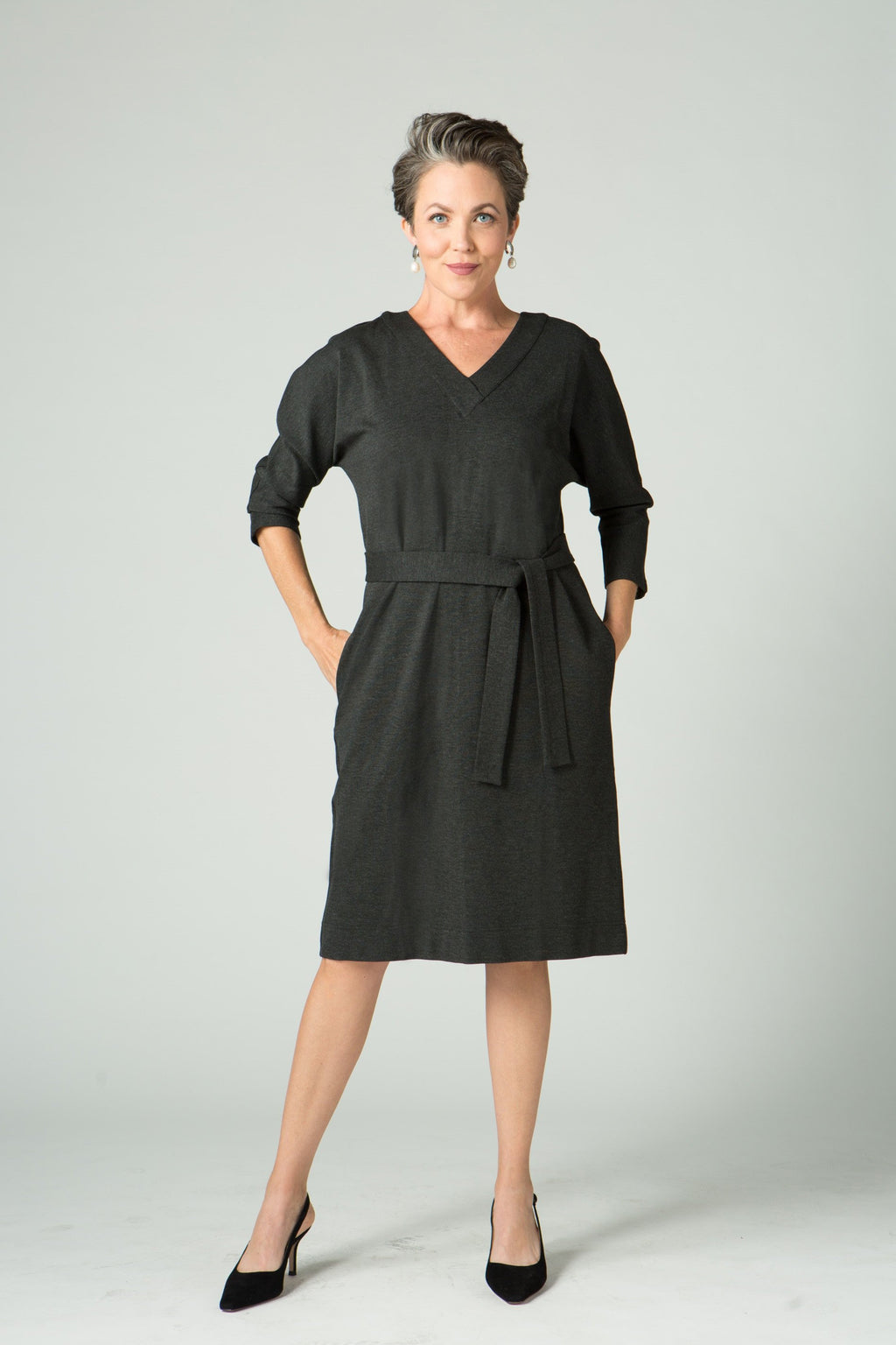 "39"" ¾ Sleeve V-Neck Belted Dress"