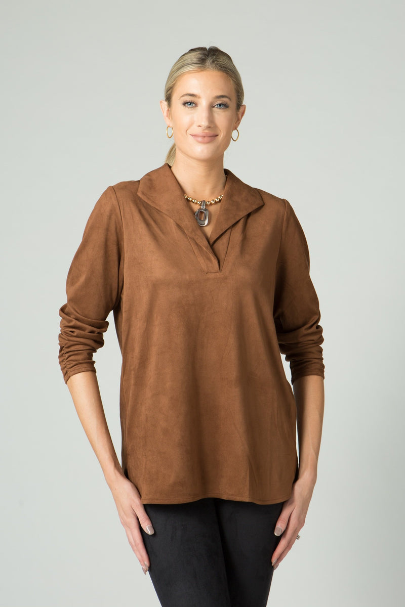 Stretch Suede Tunic with Ruched Sleeves