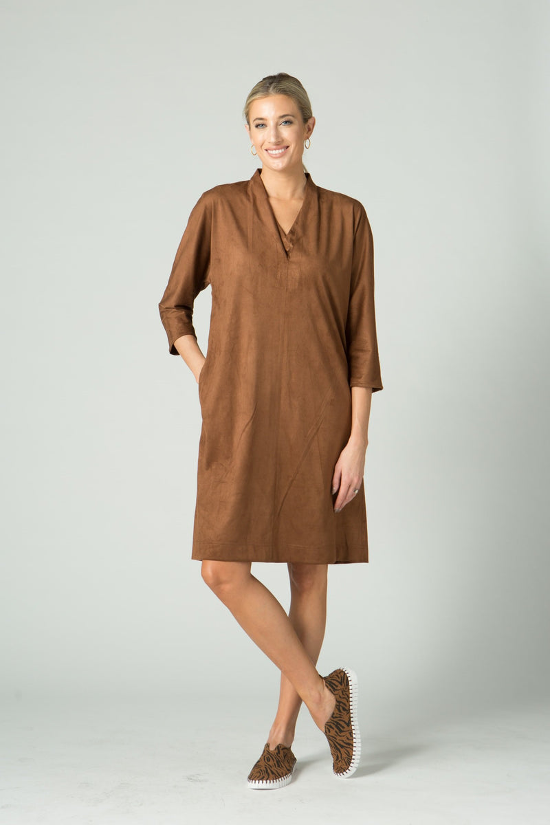 "38"" Faux Suede V-Neck Dress with Pockets"