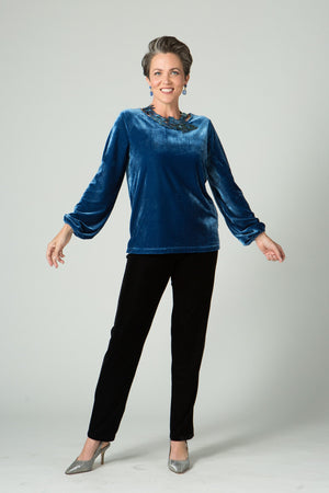 Fitted Velvet Top with Balloon Sleeves - New Orleans Wovens - Tops - Blouses