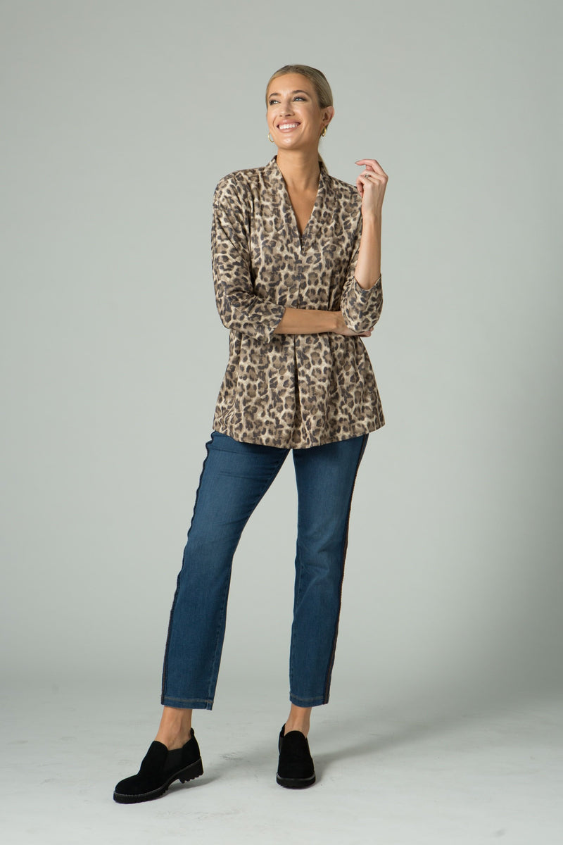 Double V-Neck Stretch Suede Tunic